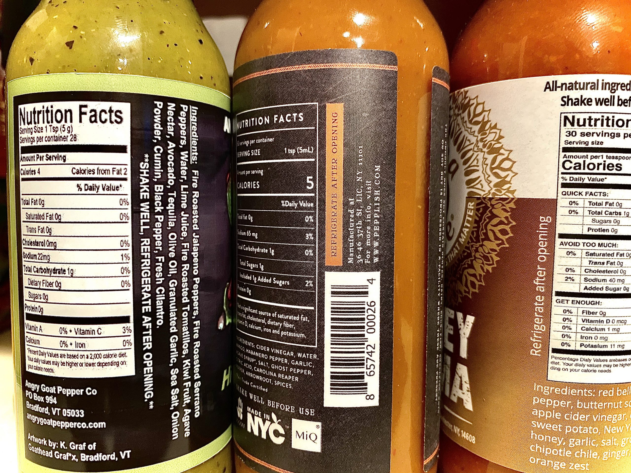 labels of three hot sauces