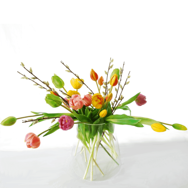 tulips-lavender-pink-orange-green-yellow-pussy-willow