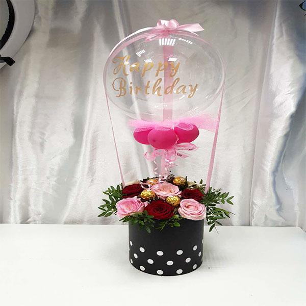 Hot Air Happy Birthday Balloon With Fresh Flower