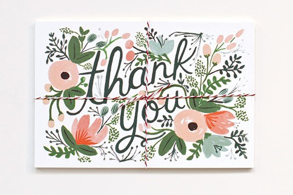 Though it started with wedding invitations, Rifle Paper Co. now specializes in range of gifts, stationery, and cards, such as the Wildflower thank-you postcards. | Courtesy of Rifle Paper Co.
