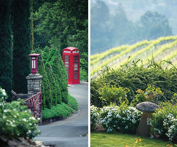 Left: Cultures cross at the entrance to Newton Vineyard gardens with this jolly red London phone booth and its accompanying Asian lamp on an indigenous stacked-stone column. | Right: English staddle stones dot the estate and give another nod to Peter Newton's country of origin.