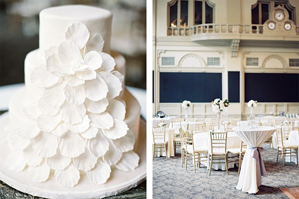 """LEFT: """"I love the simplicity and elegance,"""" says the bride of her cake made by Swiss Confectionery, a New Orleans institution. RIGHT: Looking for a historical venue with a lot of character, the bride selected the New Orleans Board of Trade for the reception."""