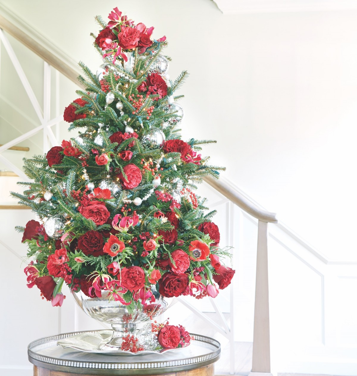 Christmas Tree Tabletop Part - 43: Tabletop Christmas Tree, Floral Christmas Tree