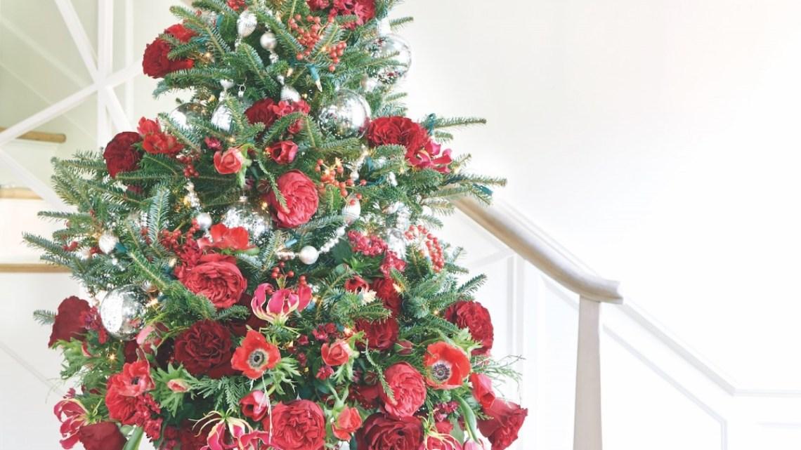 tabletop christmas tree, floral christmas tree