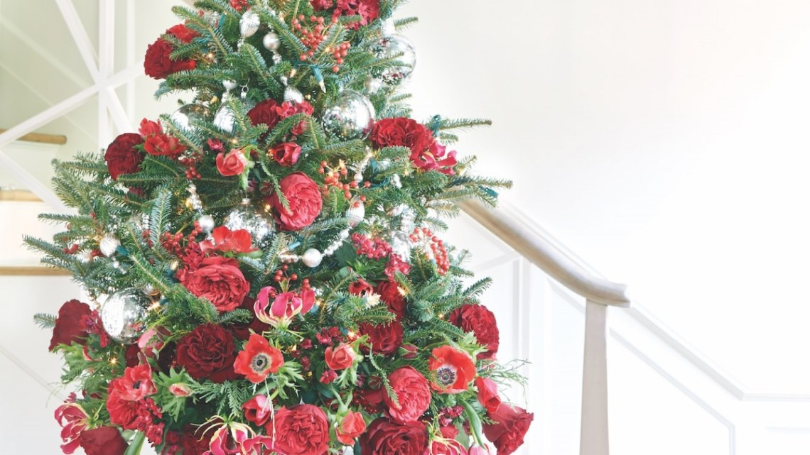 tabletop christmas tree, floral christmas tree