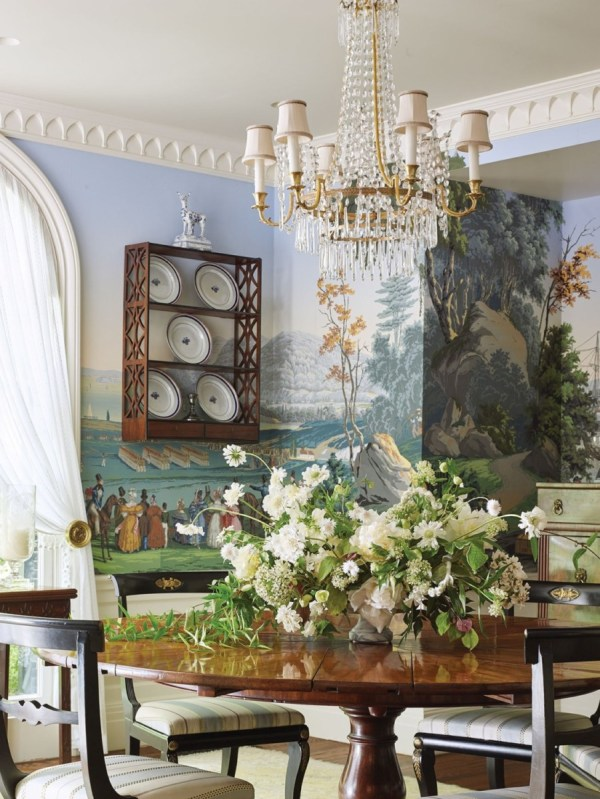 white flower arrangement by Bows & Arrows; interiors by Cathy Kincaid