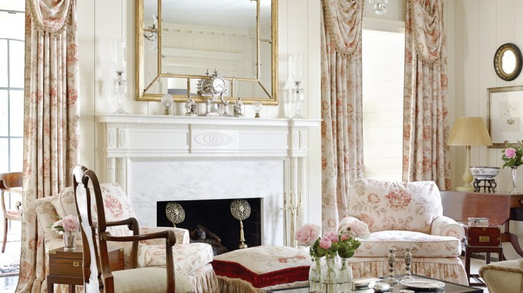 Lanham's love for florals is seen in simple arrangements of peonies and a rose fabric from Madeaux by Richard Smith used on windows and chairs.