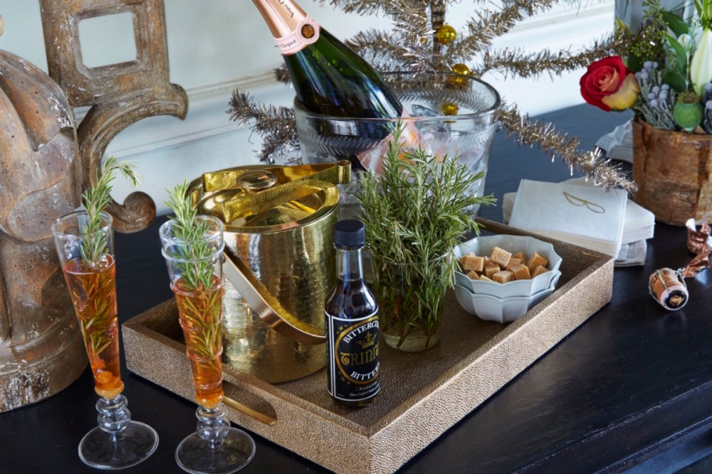 champagne cocktail, winter's kiss