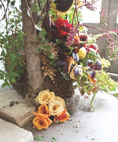 mantel flower arrangement, johnathan andrew sage