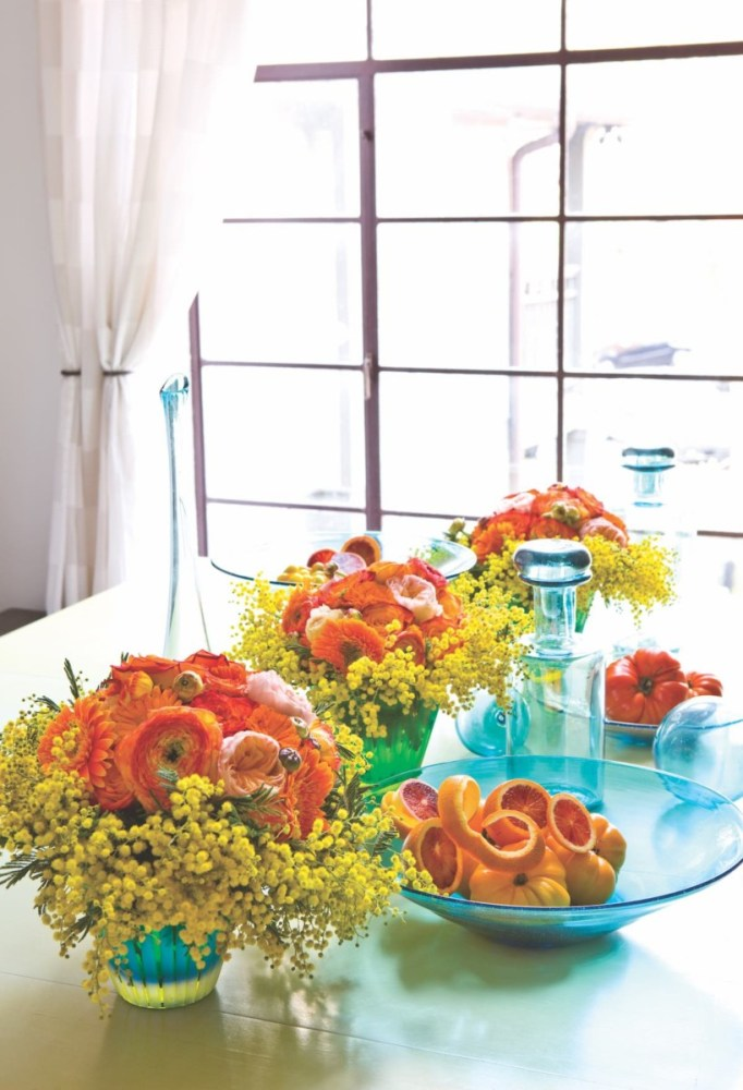summer flower and fruit arrangement