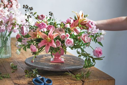 all pink arrangement, ingrid carozzi