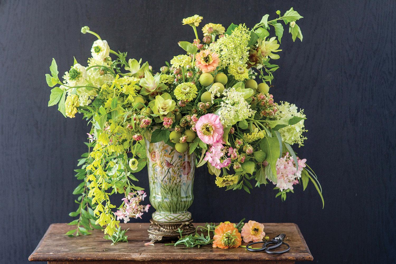 Lush Arrangement In Lime And Blush Flower Magazine