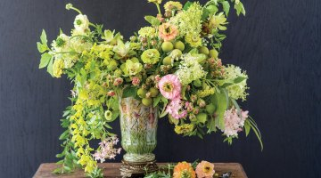 old-world style arrangement, green and pink
