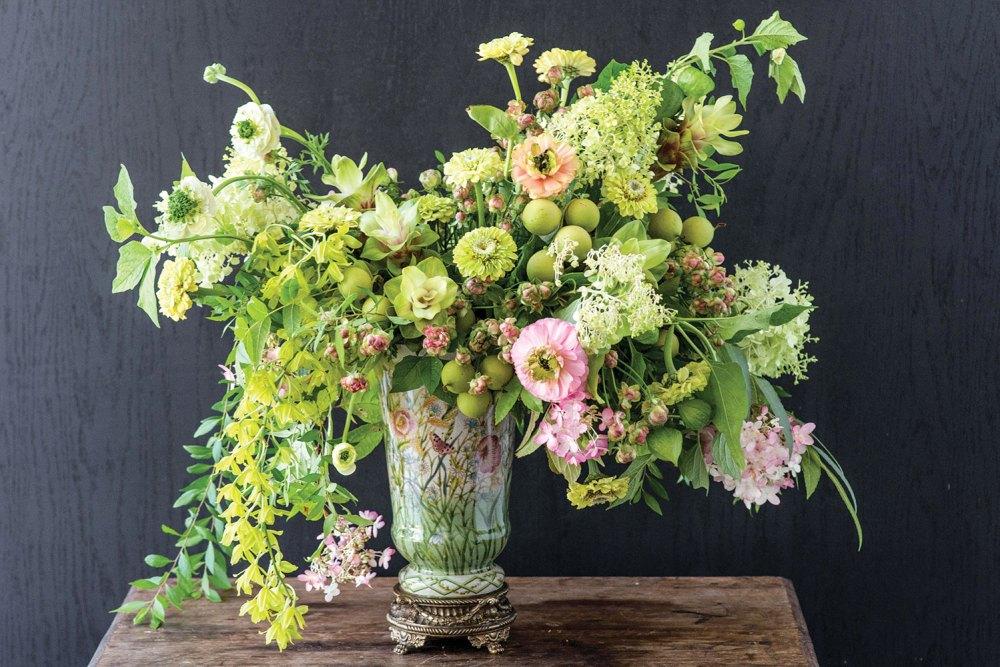 old-world style arrangement, geen and pink arrangement