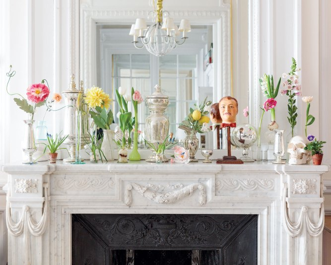 mantel, cathy graham, paper flowers