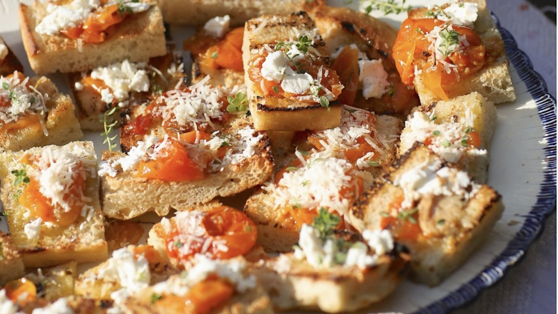 rye focaccia topped with tomato confit