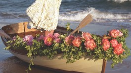 Romantic flower arrangements, Rowboat wedding flowers