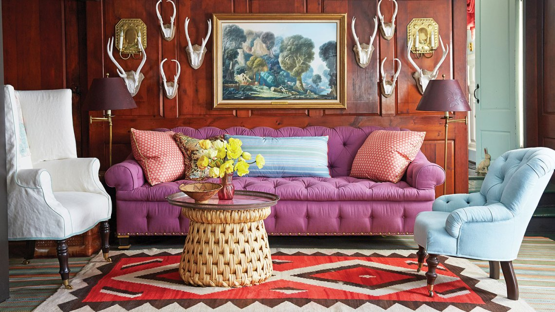 Interior designer Jeffrey Bilhuber, purple sofa