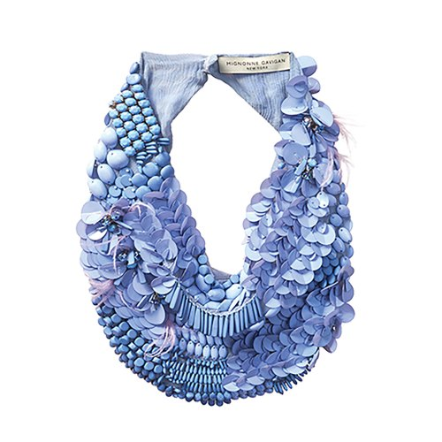 Photo of intricately adorned fabric necklace in hydrangea blue