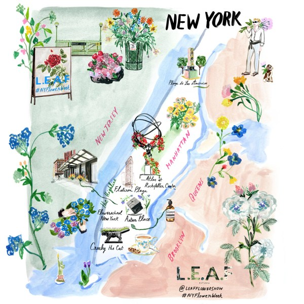 Watercolor illustrated map for the inaugural #NYFlowerWeek