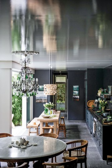 Kitchen paint color choice and luxury home decor in Marcella Kaspar and Mark Cooper's open-air home.
