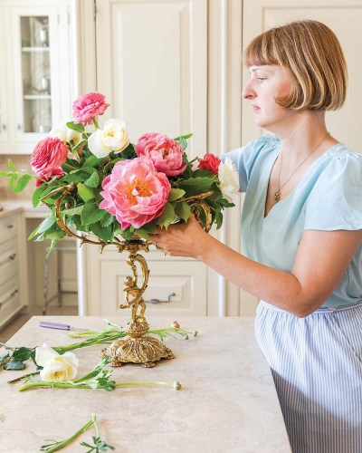 "Step 6 photo: adding ""Patience"" roses"