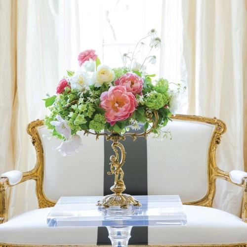 Flower list: foraged greenery, mint sprigs, 'Coral Charm' peonies, 'Clooney' ranunculus, David Austin 'Patience' roses, 'Ivory Bells' fritillaria, 'Honeymoon' tulip, white tulips, flannel flower, viburnum, jasmine