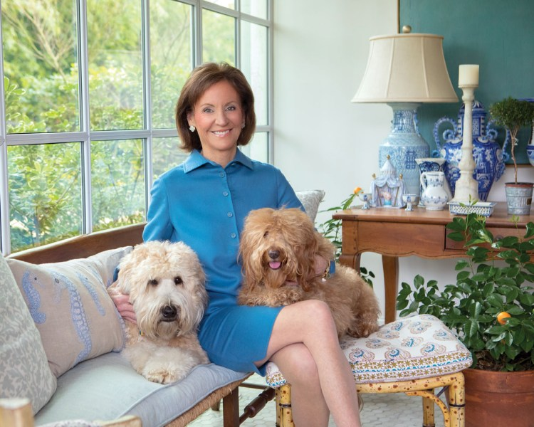 In the photo, Cathy Kincaid wears a simple, collared bright blue dress. She sits on a cushioned wooden bench beside a mullioned window with her dogs on her lap. To the side, a wood side table holds a collection of blue-and-white porcelain, including the lamp.