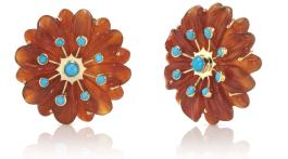 Brent Neale 'Sputnik' earrings with carnelian and turquoise in 18-karat gold, brentneale.com
