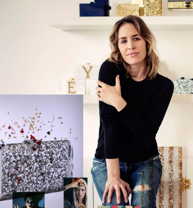 Portrait of designer Brett Heyman posing in a black 3/4 sleeve top and stylish jeans