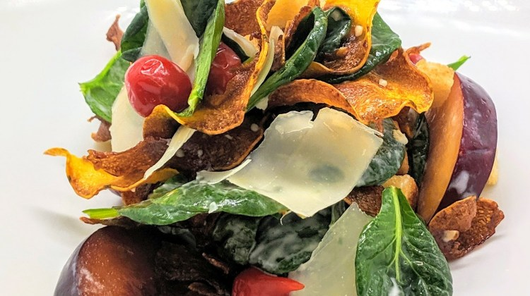 Delicata Squash Caesar Salad with Pickled Plums