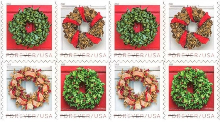 USPS holiday wreath stamps from Laura Dowling