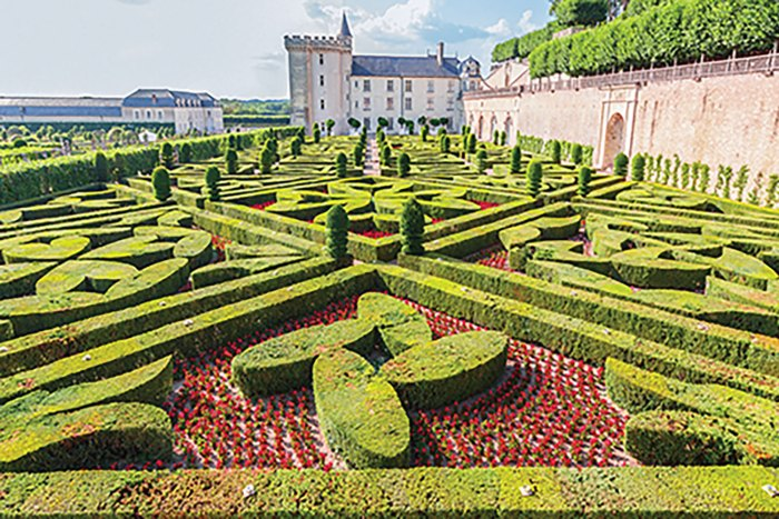 Hedges trimmed in geometric patterns, with red flower beds and paths between, at the gardens of Château Villandry in the Loire Valley