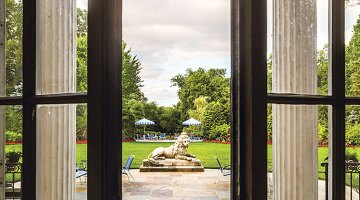 open French doors, Hillwood lawn