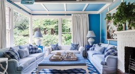 blue-and-white decor for a family room