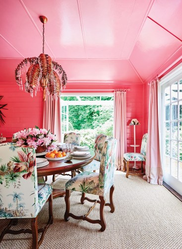 Charlotte Coote personal style, pink dining room