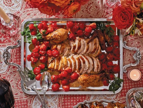 Alex Hitz's Guaranteed: The Perfect Roast Chicken with Roasted Chicken on a silver serving tray