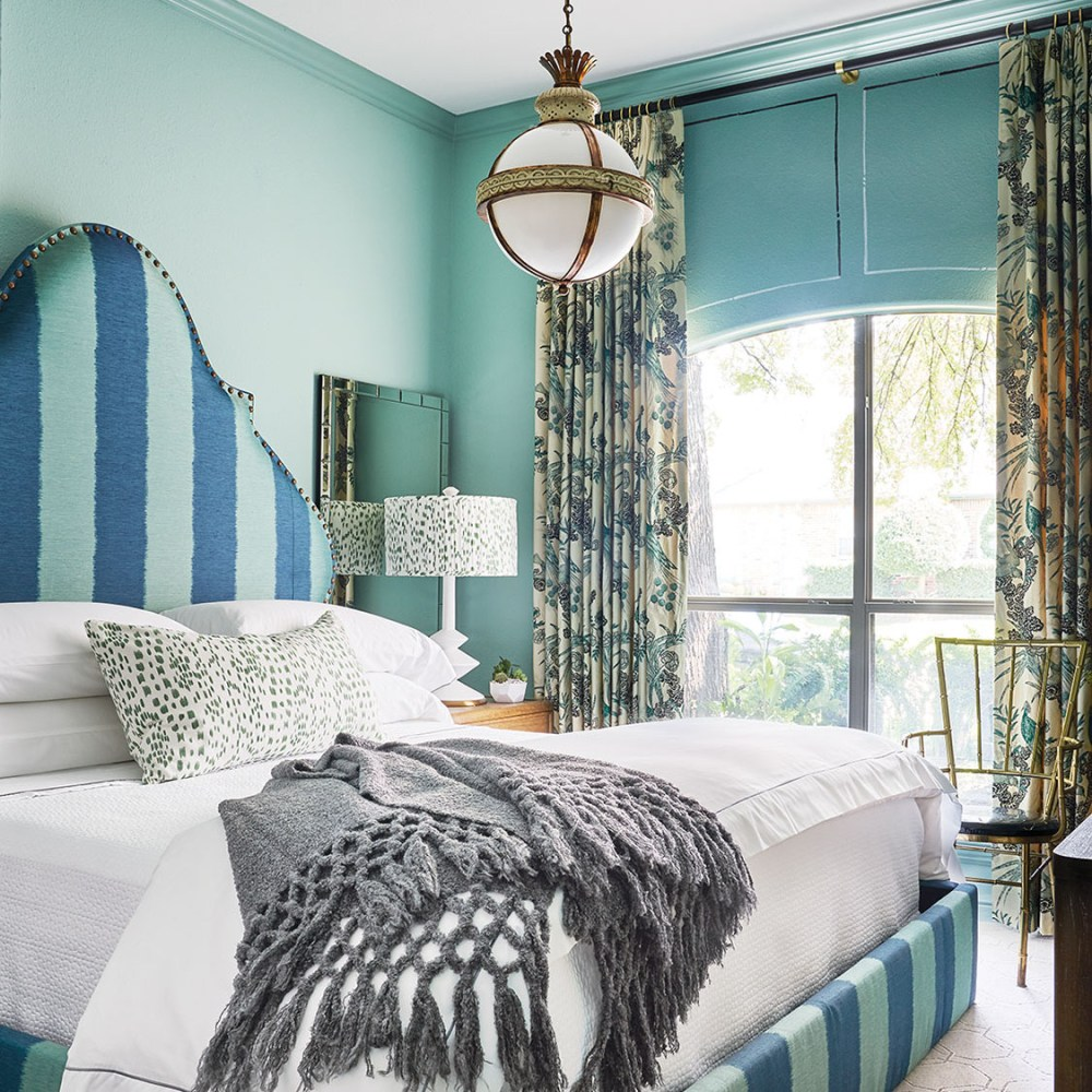 blue guest bedroom designed by Denise McGaha