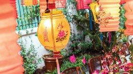 An outdoor party scene with vintage Chinese lanterns aglow