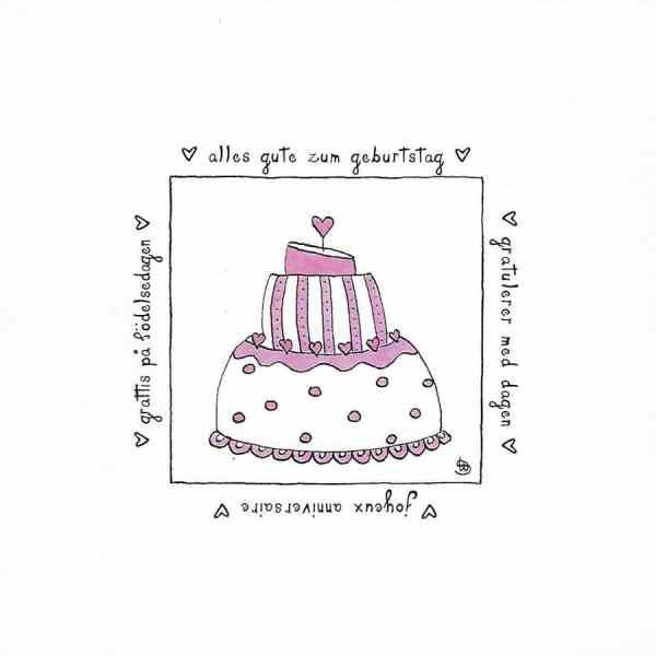 Karte Herzenskunst Alles Gute Zum Geburtstag Torte