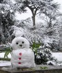 Snowman with petal buttons.