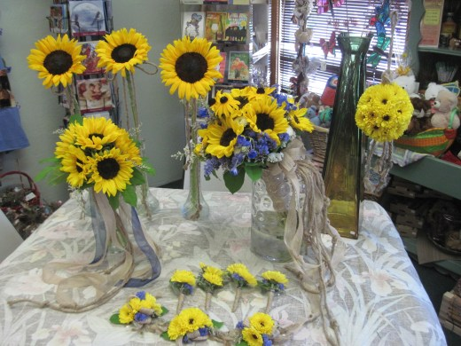 Sunflowers With a blue touch