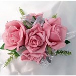 Mini pink roses with satin lined silver organza ribbon
