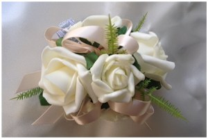 White roses with nude satin ribbon