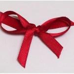 Deep red satin ribbon