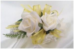 White roses,yellow,ribbon,diamante wristband