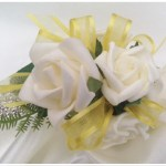 White roses,yellow,ribbon,diamante wristband