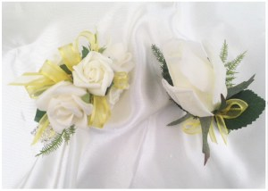 Wrist corsage and button hole set with ribbon