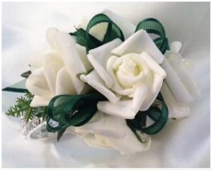 White roses, green ribbon, diamante wristband