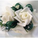 White roses, green ribbon, diamante wristband